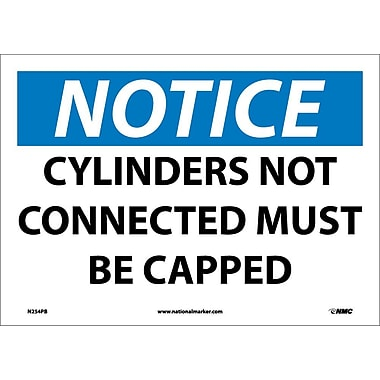 Notice, Cylinders Not Connected Must Be Capped, 10X14, Adhesive Vinyl