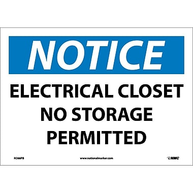 Notice, Electrical Closet No Storage Permitted, 10X14, Adhesive Vinyl