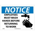 Notice, Employees Must Wash Hands Before Returning To Work, Graphic, 10X14, Adhesive Vinyl