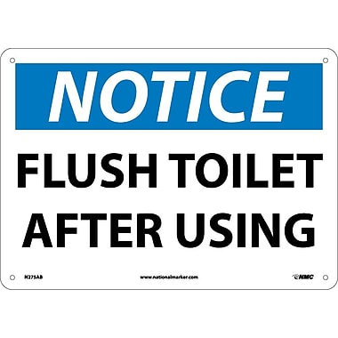 Notice, Flush Toilet After Using, 10X14, .040 Aluminum