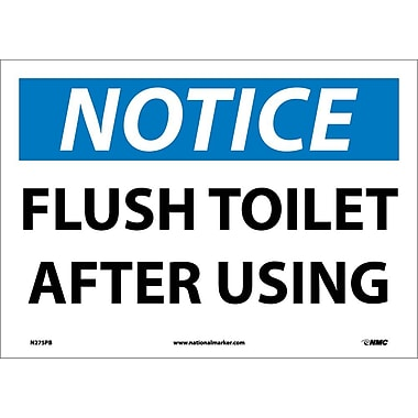 Notice, Flush Toilet After Using, 10X14, Adhesive Vinyl