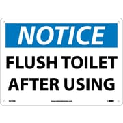 Notice, Flush Toilet After Using, 10X14, Rigid Plastic