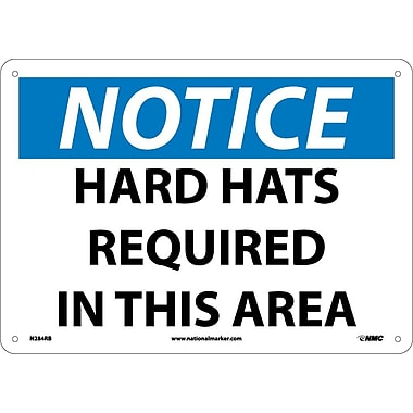 Notice, Hard Hats Required In This Area, 10X14, Rigid Plastic