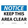 Notice, Keep This Area Clear, 10X14, Adhesive Vinyl