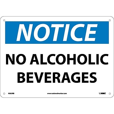 Notice, No Alcoholic Beverages, 10X14, Rigid Plastic
