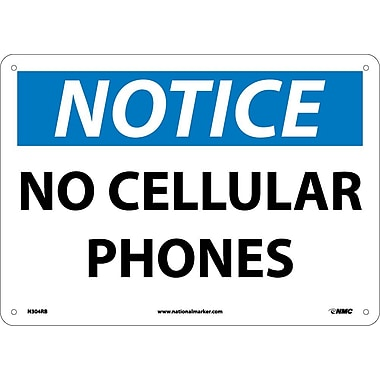 Notice, No Cellular Phones, 10X14, Rigid Plastic