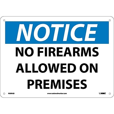 Notice, No Firearms Allowed On Premises, 10X14, .040 Aluminum