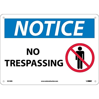 Notice, No Trespassing, Graphic, 10X14, Rigid Plastic