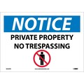 Notice, Private Property No Trespassing, Graphic, 10X14, Adhesive Vinyl
