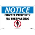 Notice, Private Property No Trespassing, Graphic, 10X14, Rigid Plastic