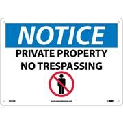Notice, Private Property No Trespassing, Graphic, 10X14, Rigid Plastic