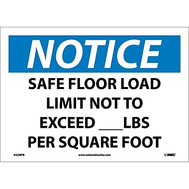 Notice, Safe Floor Load Limit Not To Exceed___Lbs. Per Square Foot, 10X14, Adhesive Vinyl