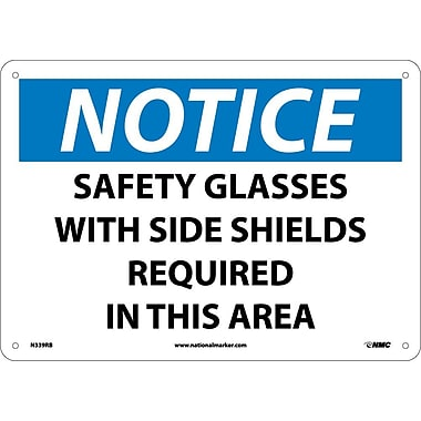 Notice, Safety Glasses With Side Shields Required In This Area, 10X14, Rigid Plastic
