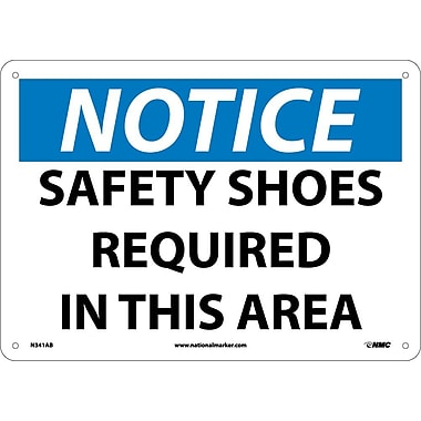 Notice, Safety Shoes Required In This Area, 10X14, .040 Aluminum