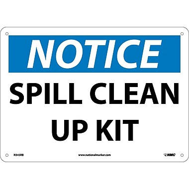 Notice, Spill Clean Up Kit, 10X14, Rigid Plastic