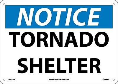 Notice, Tornado Shelter, 10X14, Rigid Plastic
