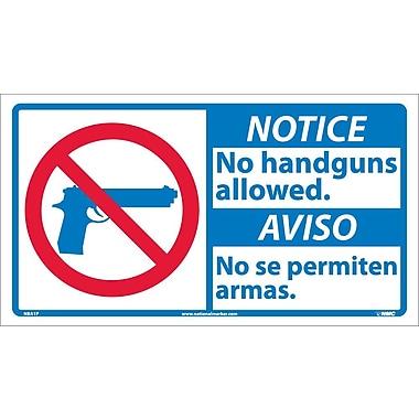 Notice, No Handguns Allowed (Bilingual W/Graphic), 10X18, Adhesive Vinyl