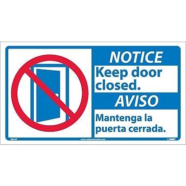 Notice, Keep Door Closed (Bilingual W/Graphic), 10X18, Adhesive Vinyl
