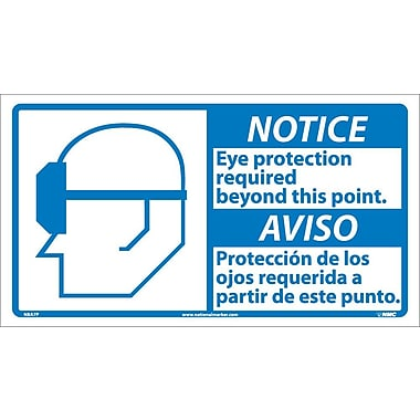 Notice, Eye Protection Required (Bilingual W/Graphic), 10X18, Adhesive Vinyl