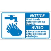 Notice, Wash Hands Before Returning To Work (Bilingual W/Graphic), 10X18, Adhesive Vinyl