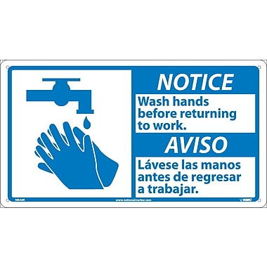 Notice, 10 X 18 Notice Wash Hands Before Return- (Bilingual W/Graphic), 10X18, Rigid Plastic