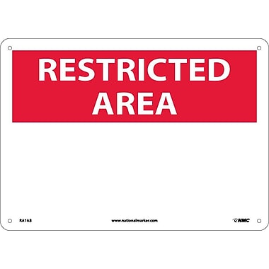 Restricted Area, Blank, 10X14, .040 Aluminum