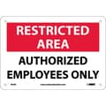 Restricted Area, Authorized Employees Only, 7X10, .040 Aluminum