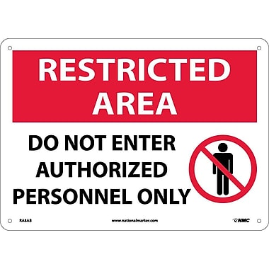 Restricted Area, Do Not Enter Authorized Personnel Only, Graphic, 10X14, .040 Aluminum