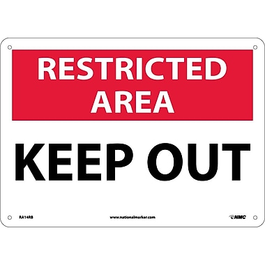 Restricted Area, Keep Out, 10X14, Rigid Plastic