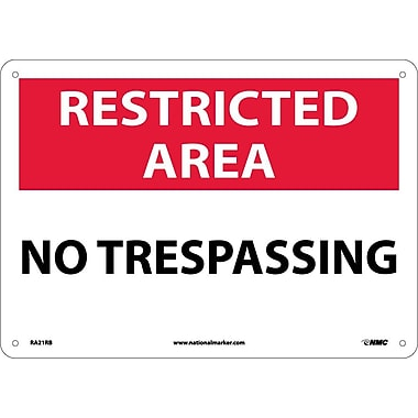 Restricted Area, No Trespassing, 10X14, Rigid Plastic