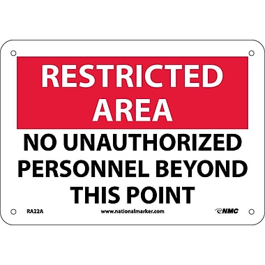Restricted Area, No Unauthorized Personnel Beyond This Point, 7X10, .040 Aluminum