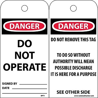 Accident Prevention Tags, Danger Do Not Operate, 6X3, Unrip Vinyl, 25/Pk