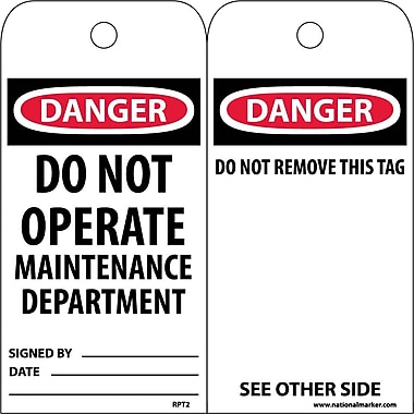 Accident Prevention Tags, Danger Do Not Operate Maintenance Dept., 6X3, Unrip Vinyl, 25/Pk