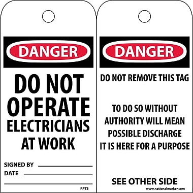 Accident Prevention Tags, Danger Do Not Operate Electricians..., 6