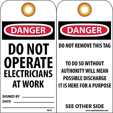Accident Prevention Tags, Danger - Do Not Operate Electricians..., 6