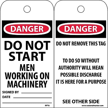 Accident Prevention Tags, Danger Do Not Start Men Working..., 6