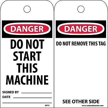 Accident Prevention Tags, Danger Do Not Start This Machine, 6