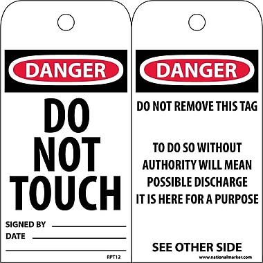 Accident Prevention Tags, Danger Do Not Touch, 6X3, Unrip Vinyl, 25/Pk