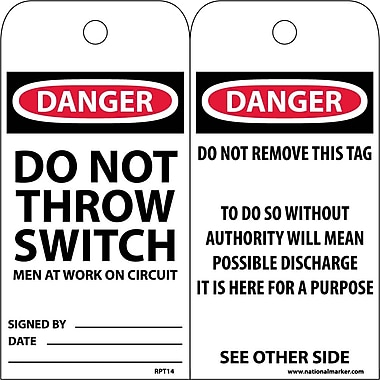 Accident Prevention Tags, Danger Do Not Throw Switch Men At Work, 6