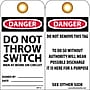 Accident Prevention Tags, Danger Do Not Throw Switch