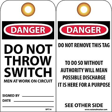 Accident Prevention Tags, Danger Do Not Throw Switch Men At Work