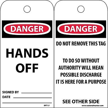 Accident Prevention Tags, Danger Hands Off, 6X3, Unrip Vinyl, 25/Pk