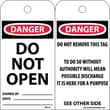 Accident Prevention Tags, Danger Do Not Open, 6X3, Unrip Vinyl, 25/Pk