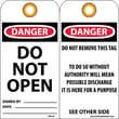 Accident Prevention Tags, Danger Do Not Open, 6X3, Unrip Vinyl, 25/Pk W/ Grommet