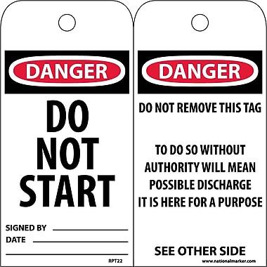 Accident Prevention Tags, Danger Do Not Start, 6
