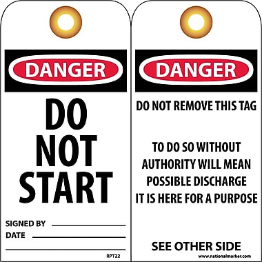 Accident Prevention Tags, Danger Do Not Start, 6X3, Unrip Vinyl, 25/Pk W/ Grommet