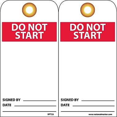 Accident Prevention Tags, Do Not Start, 6