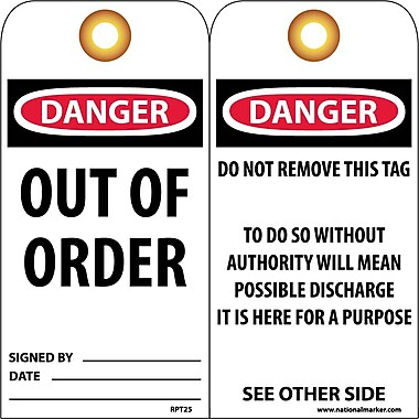 Accident Prevention Tags, Danger Out Of Order, 6
