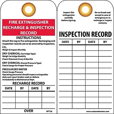 Accident Prevention Tags, Fire Extinguisher Recharge and Inspect, 25/Pack