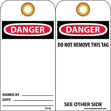 Accident Prevention Tags Danger 6X3 Unrip Vinyl 25/Pk W/ Grommet